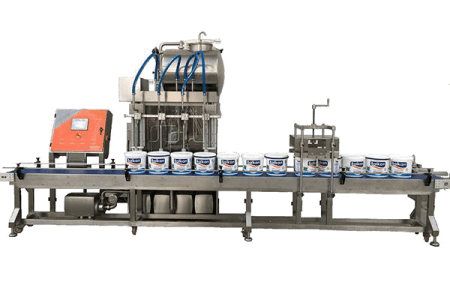 Conveyor yogurt filling machine, Konvöyörlü dolum makinası