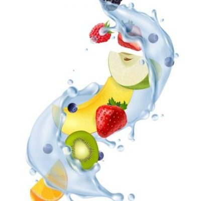 Realistic water splash in air with fresh strawberries citrus kiwi fruit segments refreshing detox drink vector illustration